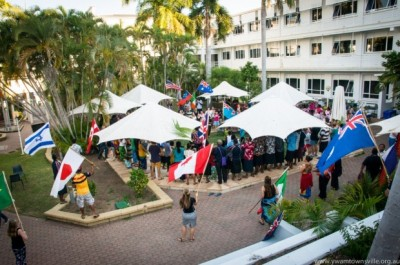 Celebrating the arrival of our Island Breeze brothers and sisters in the courtyard of the new city campus.