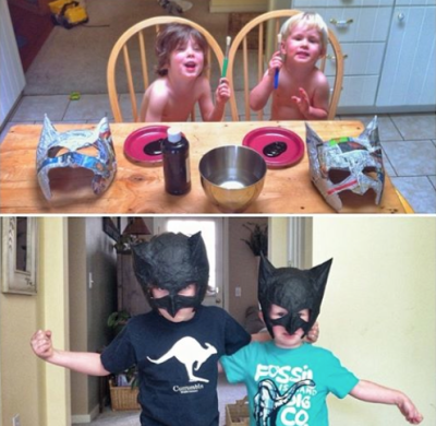making batman masks with daddy
